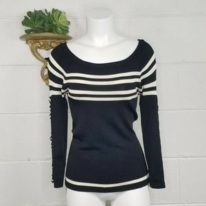 Etincelle Black White Striped Pullover Sweater Clip Hooks Down Sleeves Sm
